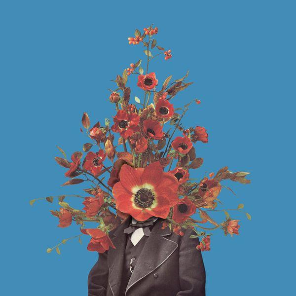Zelfportret met bloemen 4 (blauwe achtergrond)