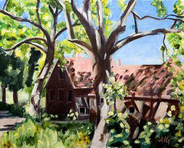 Boerderij in tegenlicht van Antonie van Gelder Beeldend kunstenaar
