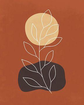 Minimalistische Landschaft mit einer Pflanze in Herbstfarben von Tanja Udelhofen