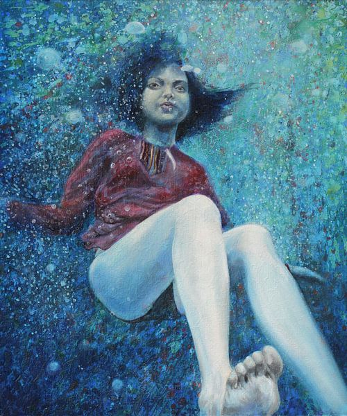 Onder water meisje van Anouk Maria van Deursen