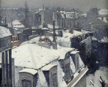 Dächer im Schnee (Schneeeffekt), Gustave Caillebotte