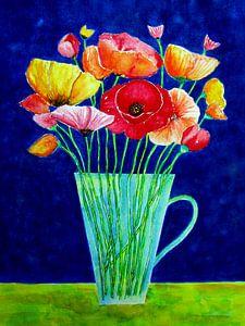 Kleurrijke bloemenvaas Papaver Klaprozen