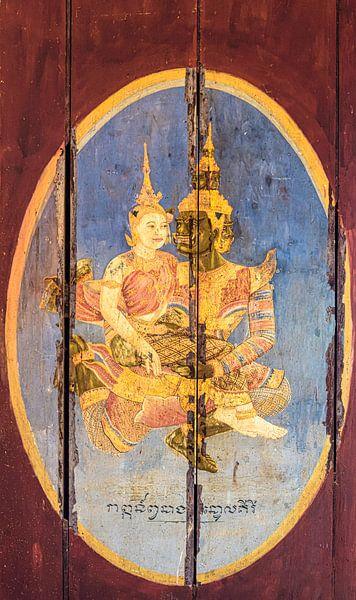Koning met minnares, deurpaneel, Cambodja van Rietje Bulthuis