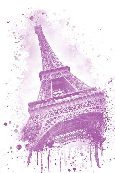 Eiffeltoren aquarel   roze van Melanie Viola