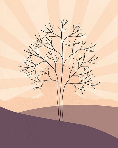 Minimalistisch landschap met een boom bij zonsondergang