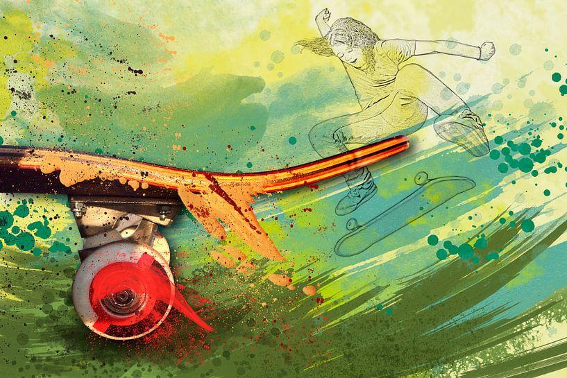 Sport trifft Splash - Skate Board von Erich Krätschmer