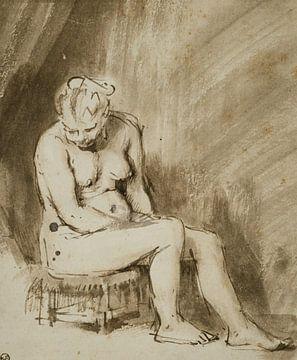 Rembrandt van Rijn, Sitzender Frauenakt auf einem Hocker, 1654-1656