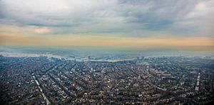 Amsterdam aan het eind van de grachtengordel vanuit de lucht