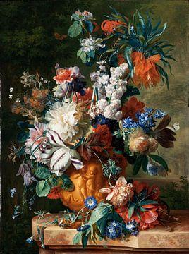 Jan van Huysum. Bloemenboeket in een urn van