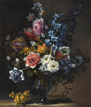 Stillleben mit Tulpen, einer Hyazinthe und anderen Blumen in einer Glasvase, Jean-Baptiste Monnoyer von Meesterlijcke Meesters