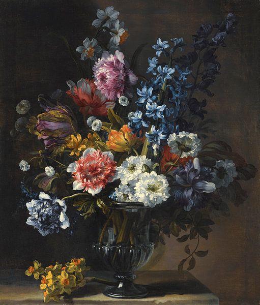 Jean-Baptiste Monnoyer, stilleven met tulpen, een hyacinth  en andere bloemen, in een glazen vaas van Meesterlijcke Meesters