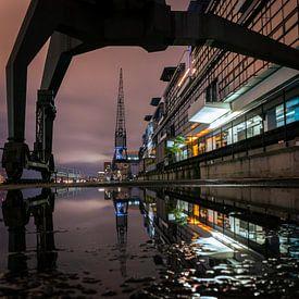 Kranen in de haven van Hamburg van Nils Steiner