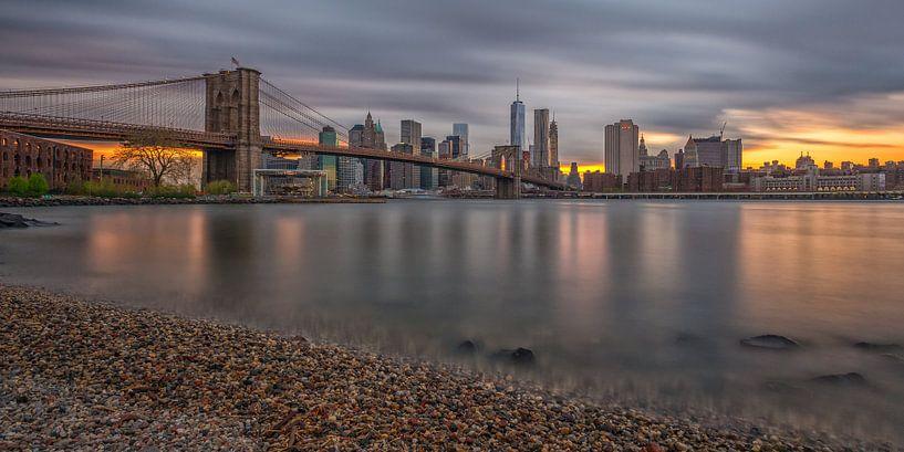 New York Skyline - Brooklyn Bridge (9) van Tux Photography
