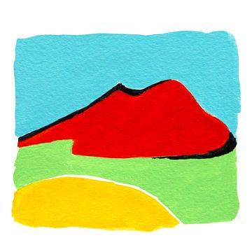 Vesuvius, Napels Italie, acrylschilderij van Studio Heyki