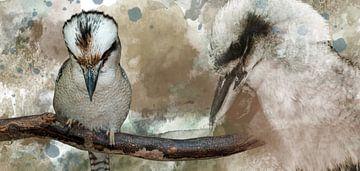 Zwei Kookaburras in einem verschmolzenen Bild von Fred en Roos van Maurik