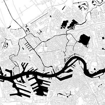 Rotterdam Plan d'étage - Carré en noir / blanc sur