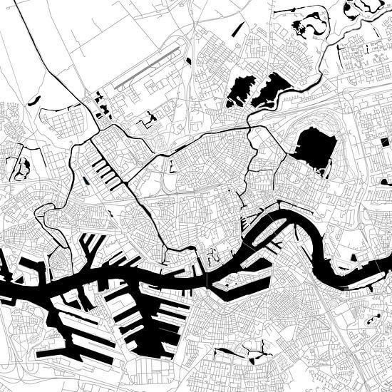 Rotterdam | Stadskaart | Vierkant in Zwart/Wit van - Wereldkaarten.Shop -