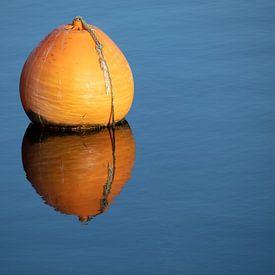 Bouée orange avec reflet dans l'eau bleue et calme d'un lac, concept pour la relaxation, la pause et sur Maren Winter