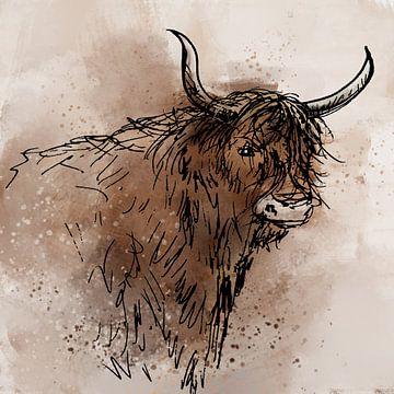 Digital artwork van schotse hooglander van Emiel de Lange