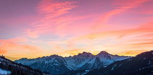 Zonsondergang in de franse alpen