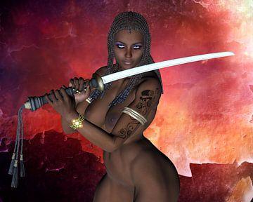 Sexy Dark Samurai zwaard meisje naakt van Brian Raggatt