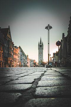 Stad Straubing met stadsplein in Beieren van Thilo Wagner