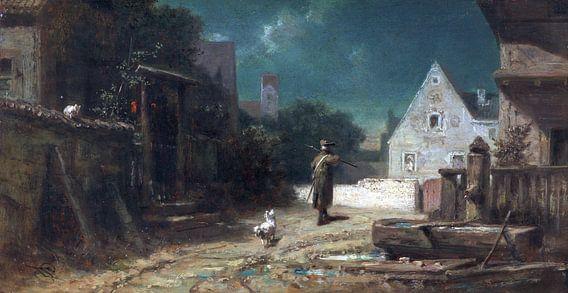Nachtwaker bij maanlicht, hond en kat, CARL SPITZWEG, ca. 1870