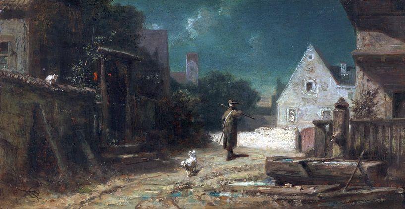 Nachtwaker bij maanlicht, hond en kat, CARL SPITZWEG, ca. 1870 van Atelier Liesjes