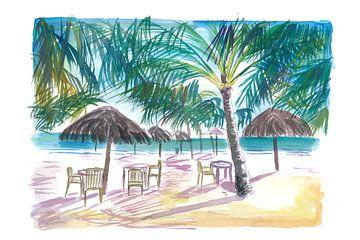 Karibik Strand Bar Restaurant unter Palmen von Markus Bleichner