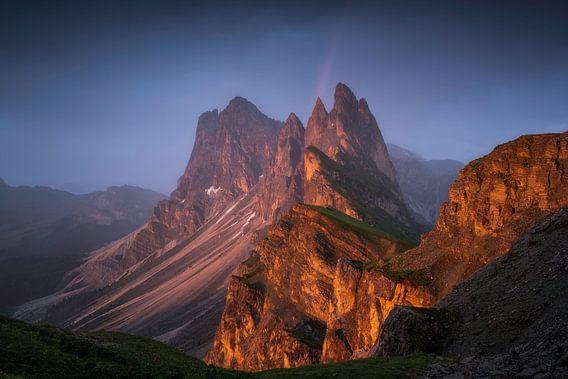 Seceda Dolomieten Regenboog Zonsondergang