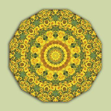 Sunflowers, Flower Mandala green van Barbara Hilmer-Schroeer
