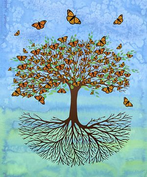 Baum des Lebens mit Schmetterlingen von Bianca Wisseloo