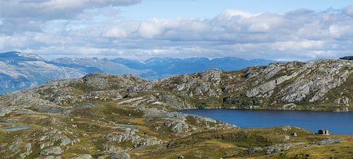 Noors landschap met huisje aan het meer