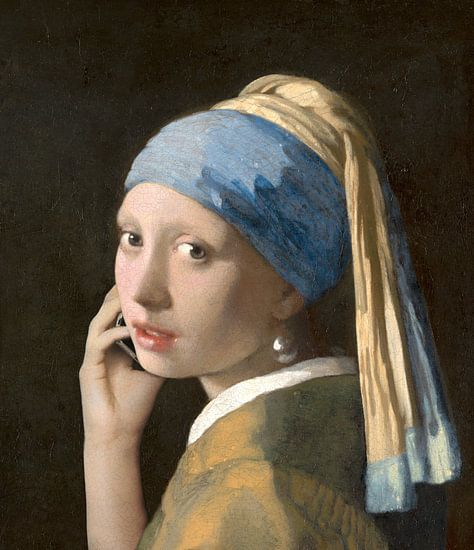 Meisje met de parel in gesprek met Vermeer van Jerome Coppo