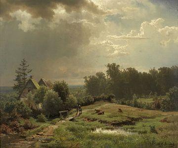 Hügelige Landschaft mit bewölktem Himmel, Andreas Achenbach von
