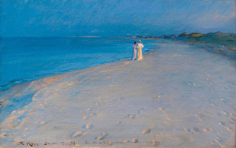 Sommerabend am Südstrand, Skagen, Peder Severin Krøyer von Meesterlijcke Meesters