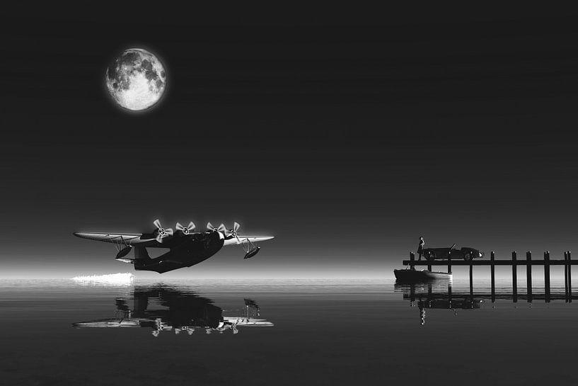Retro – Klassiek  - Het vertrek van een vliegtuig uit het water bij volle maan van Jan Keteleer