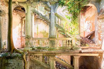 Ruine d'un escalier dans une villa abandonnée. sur Roman Robroek