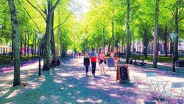 Wandelen op Lange Voorhout Den Haag van Digital Art Nederland