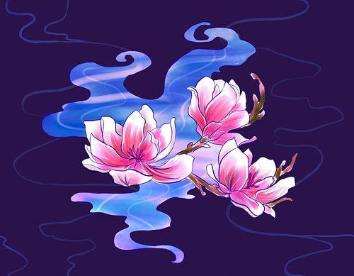 Magnolia in de nacht van Petra van Berkum