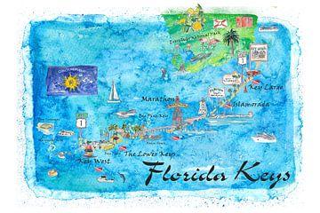 Florida Keys Key West Marathon Key Largo Illustriertes Reiseplakat Favoritenkarte Touristische Highl von Markus Bleichner