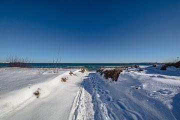 Oostzee, besneeuwde duinen op het strand in Juliusruh, Rügen van GH Foto & Artdesign