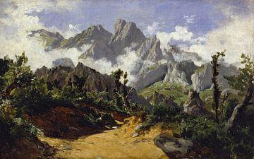 Carlos de Haes-Fogg Landschaft in den Bergen, Antike Landschaft