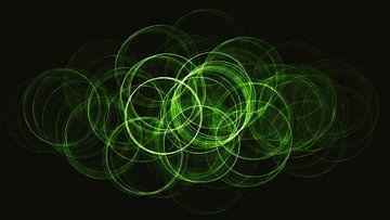 Abstract groene neon cirkels van Maurice Dawson