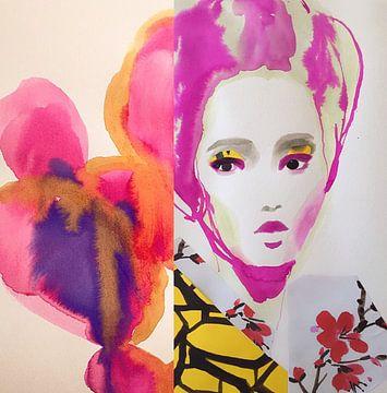 Fushia Blume Geisha von Helia Tayebi Art