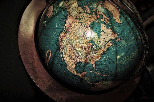 Oude Globe met Noord-Amerika