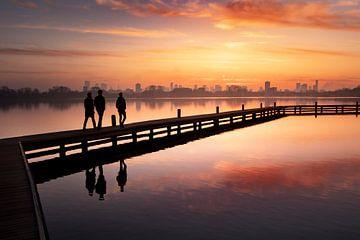 Sonnenuntergang in der Skyline von Rotterdam