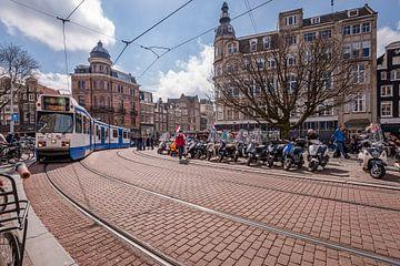 Le tram à la Koningsplein et Singel, Amsterdam sur