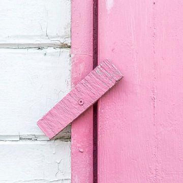 Abstract van houten scharnier in roze van Texel eXperience