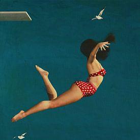 Fille plongeant dans la mer en bikini sur Jan Keteleer